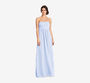 Charlotte Strapless Chiffon Dress With Pleated Bodice In Cloudy