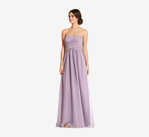 Charlotte Strapless Chiffon Dress With Pleated Bodice In Dusty Lilac