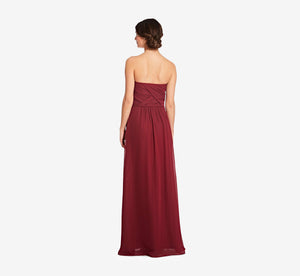 Charlotte Strapless Chiffon Dress With Pleated Bodice In Cabernet