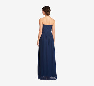 Charlotte Strapless Chiffon Dress With Pleated Bodice In Navy