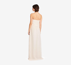 Charlotte Strapless Chiffon Dress With Pleated Bodice In Champagne