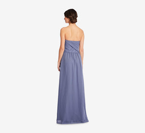 Charlotte Strapless Chiffon Dress With Pleated Bodice In Dusty Blue