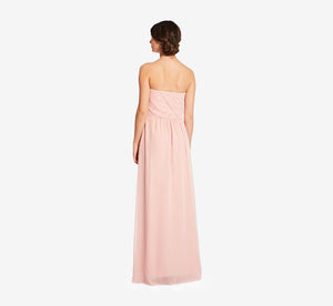 Charlotte Strapless Chiffon Dress With Pleated Bodice In Rose