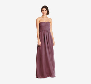 Charlotte Strapless Chiffon Dress With Pleated Bodice In Marsala