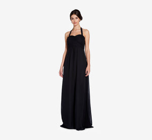 Chloe Halter Chiffon Dress With Pleated Bodice In Black