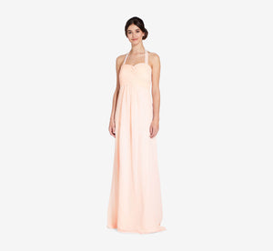 Chloe Halter Chiffon Dress With Pleated Bodice In Blush