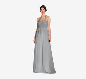 Chloe Halter Chiffon Dress With Pleated Bodice In Slate Grey