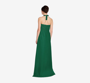 Chloe Halter Chiffon Dress With Pleated Bodice In Evergreen