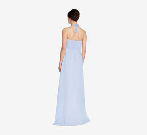 Chloe Halter Chiffon Dress With Pleated Bodice In Cloudy