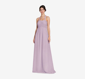 Chloe Halter Chiffon Dress With Pleated Bodice In Dusty Lilac