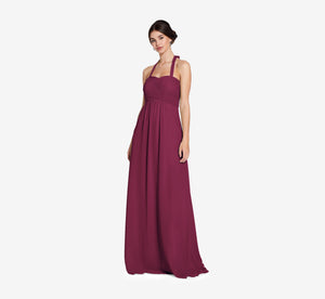 Chloe Halter Chiffon Dress With Pleated Bodice In Cabernet