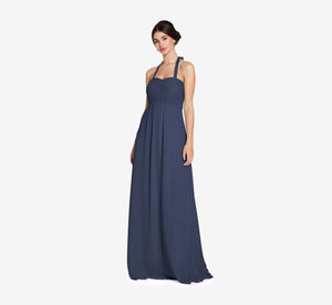Chloe Halter Chiffon Dress With Pleated Bodice In Navy