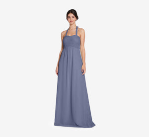 Chloe Halter Chiffon Dress With Pleated Bodice In Dusty Blue