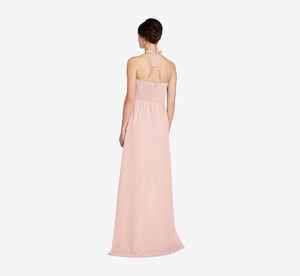 Chloe Halter Chiffon Dress With Pleated Bodice In Rose