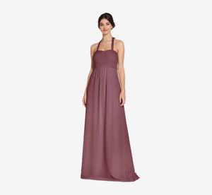 Chloe Halter Chiffon Dress With Pleated Bodice In Marsala