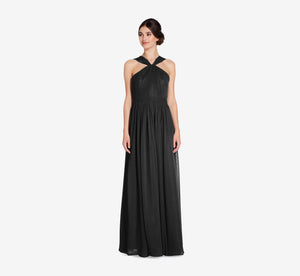 Cora Pleated Halter Chiffon Dress With Banded Waist In Black