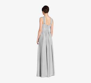 Cora Pleated Halter Chiffon Dress With Banded Waist In Whisper