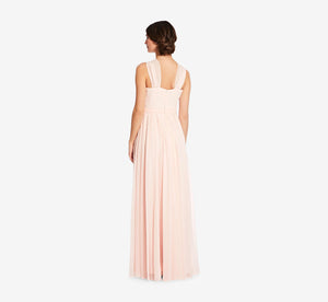 Cora Pleated Halter Chiffon Dress With Banded Waist In Blush