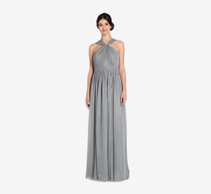 Cora Pleated Halter Chiffon Dress With Banded Waist In Slate Grey