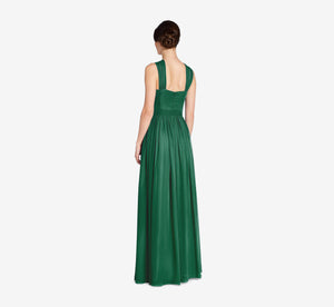Cora Pleated Halter Chiffon Dress With Banded Waist In Evergreen