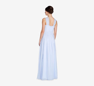 Cora Pleated Halter Chiffon Dress With Banded Waist In Cloudy