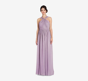 Cora Pleated Halter Chiffon Dress With Banded Waist In Dusty Lilac