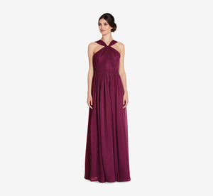 Cora Pleated Halter Chiffon Dress With Banded Waist In Cabernet
