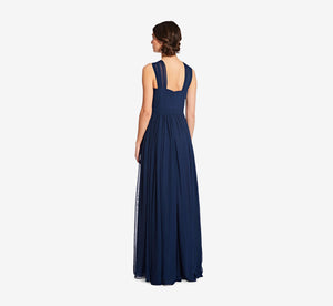 Cora Pleated Halter Chiffon Dress With Banded Waist In Navy