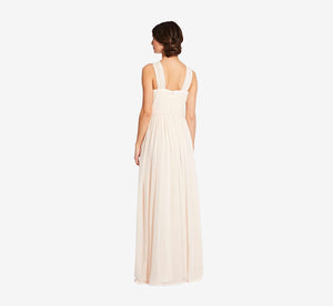 Cora Pleated Halter Chiffon Dress With Banded Waist In Champagne
