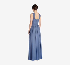 Cora Pleated Halter Chiffon Dress With Banded Waist In Dusty Blue