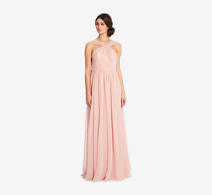 Cora Pleated Halter Chiffon Dress With Banded Waist In Rose