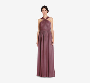 Cora Pleated Halter Chiffon Dress With Banded Waist In Marsala