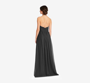 Diana Halter Chiffon Dress With Pleated Waist In Black