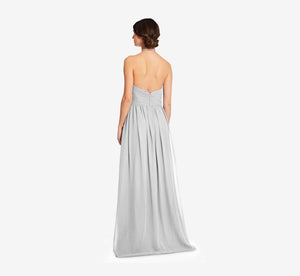 Diana Halter Chiffon Dress With Pleated Waist In Whisper