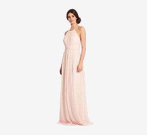 Diana Halter Chiffon Dress With Pleated Waist In Blush