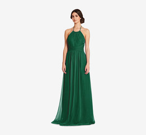 Diana Halter Chiffon Dress With Pleated Waist In Evergreen