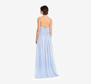 Diana Halter Chiffon Dress With Pleated Waist In Cloudy