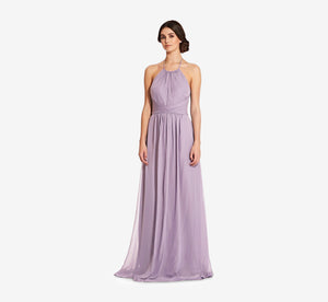 Diana Halter Chiffon Dress With Pleated Waist In Dusty Lilac