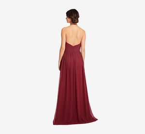 Diana Halter Chiffon Dress With Pleated Waist In Cabernet