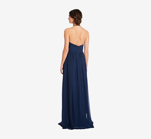 Diana Halter Chiffon Dress With Pleated Waist In Navy