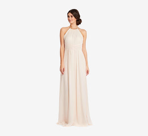 Diana Halter Chiffon Dress With Pleated Waist In Champagne