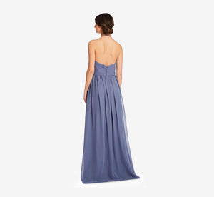 Diana Halter Chiffon Dress With Pleated Waist In Dusty Blue