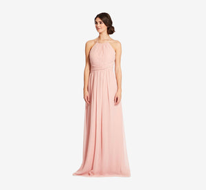 Diana Halter Chiffon Dress With Pleated Waist In Rose