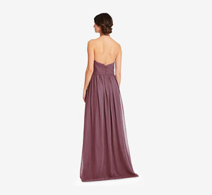 Diana Halter Chiffon Dress With Pleated Waist In Marsala