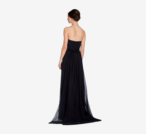 Everly Strapless Chiffon Dress With Gathered Bodice In Black