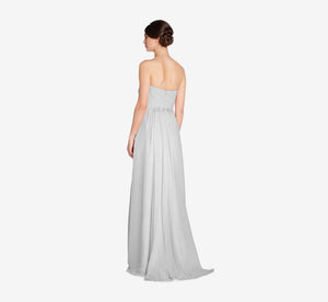 Everly Strapless Chiffon Dress With Gathered Bodice In Whisper