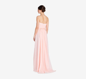 Everly Strapless Chiffon Dress With Gathered Bodice In Blush
