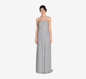 Everly Strapless Chiffon Dress With Gathered Bodice In Slate Grey