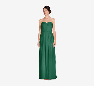 Everly Strapless Chiffon Dress With Gathered Bodice In Evergreen
