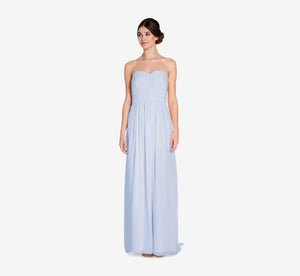Everly Strapless Chiffon Dress With Gathered Bodice In Cloudy